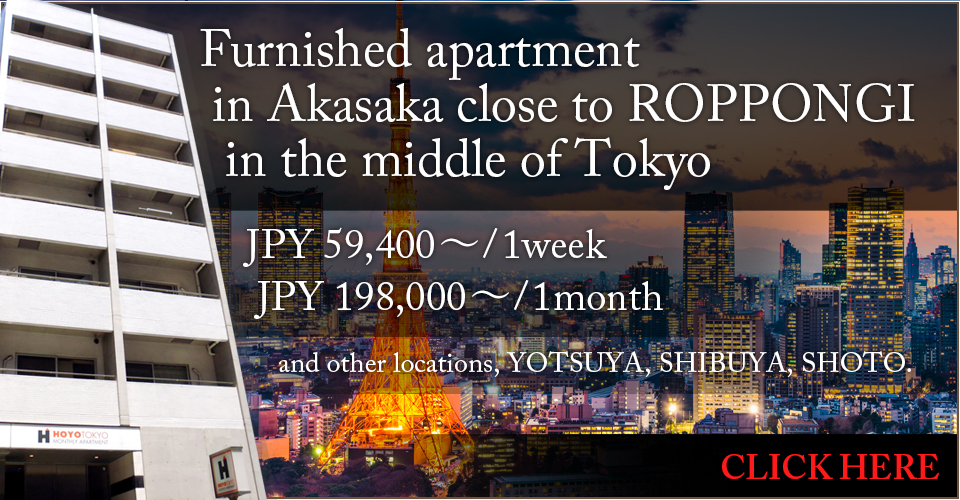 Furnished apartment in Akasaka close to ROPPONGI in the middle of Tokyo